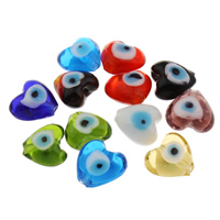 Böser Blick Lampwork Perlen, Herz, handgemacht, böser Blick- Muster, gemischte Farben, 15x13x8.50mm, Bohrung:ca. 1mm, verkauft von PC