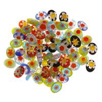 Chevron Glasperlen, handgemacht, gemischte Farben, 6x8x2.50mm, Bohrung:ca. 2mm, verkauft von PC