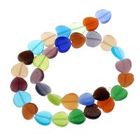 Handgewickelte Perlen, Lampwork, Herz, handgemacht, 12x11.50x3mm, Bohrung:ca. 1mm, ca. 32PCs/Strang, verkauft per ca. 13.5 ZollInch Strang