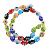 Handgewickelte Perlen, Lampwork, handgemacht, 9x12mm, Bohrung:ca. 1mm, ca. 32PCs/Strang, verkauft per ca. 15 ZollInch Strang