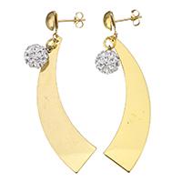 Strass Ohrring, Edelstahl, mit Ton, goldfarben plattiert, für Frau, 67mm, 10x14mm, verkauft von Paar