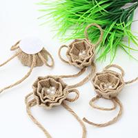 Mode Dekoration Blumen, Leinen, mit Baumwolle & Kunststoff Perlen, mit Dekoration von Bandschleife, 60mm, 5PCs/Menge, verkauft von Menge