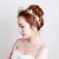 Braut Haarband, Zinklegierung, mit Satinband & Polyester & Glasperlen, plattiert, für Braut & für Frau & mit Strass, frei von Nickel, Blei & Kadmium, 370mm, verkauft per ca. 14.6 ZollInch Strang