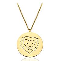Edelstahl Schmuck Halskette, mit Verlängerungskettchen von 1.5Inch, Löwe, goldfarben plattiert, Mit Verpackungskasten & Oval-Kette & für Frau & hohl, 25x29mm, 2mm, verkauft per ca. 20 ZollInch Strang