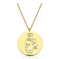 Edelstahl Schmuck Halskette, mit Verlängerungskettchen von 1.5Inch, Steinbock, goldfarben plattiert, Mit Verpackungskasten & Oval-Kette & für Frau & hohl, 25x29mm, 2mm, verkauft per ca. 20 ZollInch Strang