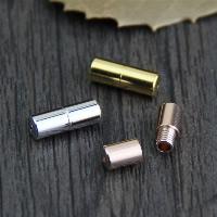 925 Sterling Silber Schraubschließe, Zylinder, plattiert, keine, 4x11.30mm, Bohrung:ca. 1mm, 3PCs/Menge, verkauft von Menge