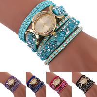 Wrap Uhr, Wollschnur, mit Glas & Zinklegierung, plattiert, einstellbar & für Frau & 2 strängig, keine, frei von Nickel, Blei & Kadmium, 26x8mm, verkauft per ca. 15.7 ZollInch Strang