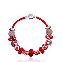 European Armband, Lederband, mit Zink-Legierung Perle & Kristall & Lampwork & Emaille, Herz, plattiert, unterschiedliche Länge der Wahl & für Frau & mit Strass, frei von Blei & Kadmium, verkauft von Strang