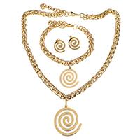 Edelstahl Schmucksets, Armband & Ohrring & Halskette, mit Verlängerungskettchen von 1Inch, 1Inch, goldfarben plattiert, für Frau, 35x40mm, 7mm, 26x30mm, 7mm, 16x17mm, Länge:ca. 17.5 ZollInch, ca. 8 ZollInch, verkauft von setzen