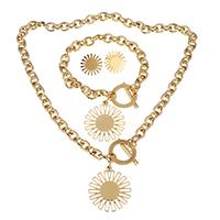 Edelstahl Schmucksets, Armband & Ohrring & Halskette, Sonne, goldfarben plattiert, Oval-Kette & für Frau, 31x24mm, 8mm, 31x34mm, 8mm, 17.5mm, Länge:ca. 19 ZollInch, ca. 9.5 ZollInch, verkauft von setzen