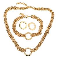 Edelstahl Schmucksets, Armband & Ohrring & Halskette, mit Verlängerungskettchen von 2Inch, 0.5Inch, Kreisring, goldfarben plattiert, kompulizierte Kette & für Frau, 21mm, 8mm, 21mm, 8mm, 21mm, Länge:ca. 18 ZollInch, ca. 9 ZollInch, verkauft von setzen