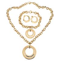 Edelstahl Schmucksets, Armband & Ohrring & Halskette, Kreisring, goldfarben plattiert, Oval-Kette & für Frau, 40mm, 8mm, 30mm, 8mm, 22mm, Länge:ca. 18 ZollInch, ca. 8.5 ZollInch, verkauft von setzen