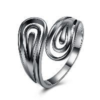 comeon® Finger-Ring, Messing, metallschwarz plattiert, offen & für Frau, frei von Nickel, Blei & Kadmium, 18mm, Größe:8, verkauft von PC