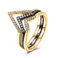 comeon® Finger-Ring, Messing, plattiert, verschiedene Größen vorhanden & für Frau & mit kubischem Zirkonia, frei von Nickel, Blei & Kadmium, 14mm, verkauft von PC