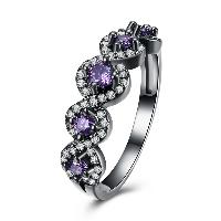 comeon® Finger-Ring, Messing, metallschwarz plattiert, verschiedene Größen vorhanden & für Frau & mit kubischem Zirkonia, frei von Nickel, Blei & Kadmium, 6mm, verkauft von PC