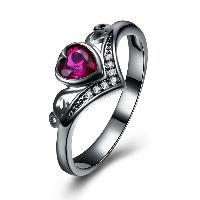comeon® Finger-Ring, Messing, Herz, metallschwarz plattiert, verschiedene Größen vorhanden & für Frau & mit kubischem Zirkonia, frei von Nickel, Blei & Kadmium, 10mm, verkauft von PC