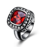 comeon® Finger-Ring, Messing, Quadrat, metallschwarz plattiert, verschiedene Größen vorhanden & für Frau & mit kubischem Zirkonia, frei von Nickel, Blei & Kadmium, 16mm, verkauft von PC