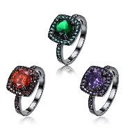 comeon® Finger-Ring, Messing, metallschwarz plattiert, verschiedene Größen vorhanden & für Frau & mit kubischem Zirkonia, keine, frei von Nickel, Blei & Kadmium, 12mm, verkauft von PC