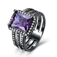 comeon® Finger-Ring, Messing, Rechteck, metallschwarz plattiert, verschiedene Größen vorhanden & für Frau & mit kubischem Zirkonia, frei von Nickel, Blei & Kadmium, 13mm, verkauft von PC