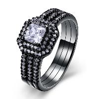 comeon® Finger-Ring, Messing, Rechteck, metallschwarz plattiert, verschiedene Größen vorhanden & für Frau & mit kubischem Zirkonia, frei von Nickel, Blei & Kadmium, 10mm, verkauft von PC