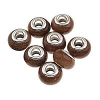 Goldsand European Perlen, Messing-Dual-Core ohne troll, 14x9mm, Bohrung:ca. 5mm, verkauft von PC