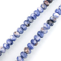 Blauer Tupfen Stein Perlen, blauer Punkt, Rondell, facettierte, 6x8mm, Bohrung:ca. 1mm, ca. 75PCs/Strang, verkauft per ca. 15 ZollInch Strang