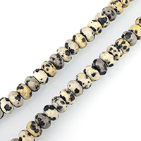 Dalmatinische Perlen, Dalmatiner, Rondell, facettierte, 6x8mm, Bohrung:ca. 1mm, ca. 75PCs/Strang, verkauft per ca. 15 ZollInch Strang
