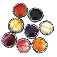 Achat Perlen, gemischter Achat, flache Runde, mit Strass, keine, 21-23x7-8mm, Bohrung:ca. 1mm, 10PCs/Menge, verkauft von Menge