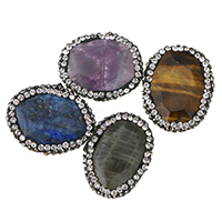 Achat Perlen, gemischter Achat, mit Ton, mit Strass, keine, 18-20x24-25x6-8mm, Bohrung:ca. 0.5mm, 10PCs/Menge, verkauft von Menge