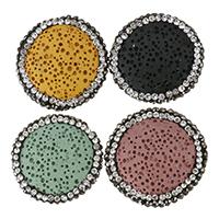 Natürliche Lava Perlen, mit Ton, flache Runde, mit Strass, keine, 23-26x7-8mm, Bohrung:ca. 1.5mm, 10PCs/Menge, verkauft von Menge