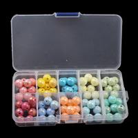 Gemischte Acrylperlen, Acryl, mit Kunststoff Kasten, rund, 10mm, 130x69x22mm, Innendurchmesser:ca. 1.5mm, verkauft von Box
