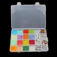 Volltonfarbe Acryl Perlen, Glas-Rocailles, mit Kunststoff Kasten & Acryl, 2.5x1.5mm-10mm, 192x133x22mm, Bohrung:ca. 3mm, verkauft von Box