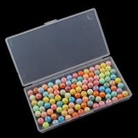 Volltonfarbe Acryl Perlen, mit Kunststoff Kasten, 10mm, 146x79x20mm, Innendurchmesser:ca. 1.5mm, verkauft von Box