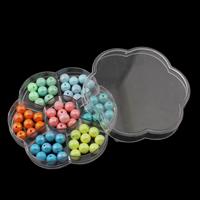 Volltonfarbe Acryl Perlen, mit Kunststoff Kasten, rund, 10mm, 103x19mm, Bohrung:ca. 1.5mm, verkauft von Box