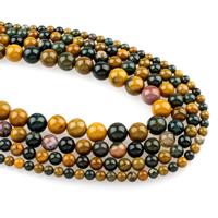 Achat Perlen, Ozean Achat, rund, verschiedene Größen vorhanden, Bohrung:ca. 1mm, verkauft per ca. 15.5 ZollInch Strang