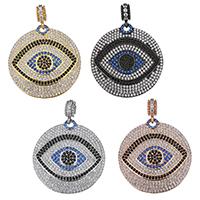 Evil Eye Anhänger, Messing, flache Runde, plattiert, böser Blick- Muster & Micro pave Zirkonia, keine, 35.50x37x2mm, Bohrung:ca. 4mm, 2PCs/Menge, verkauft von Menge