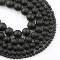 schwarzer Stein Perle, rund, verschiedene Größen vorhanden, verkauft per ca. 15 ZollInch Strang