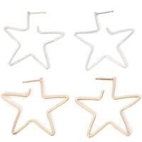 Messing Ohrstecker, Stern, plattiert, für Frau, keine, frei von Nickel, Blei & Kadmium, 45mm, verkauft von Paar