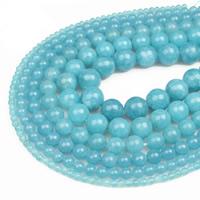 blauer Chalzedon Perle, rund, verschiedene Größen vorhanden, Bohrung:ca. 1mm, verkauft per ca. 15.5 ZollInch Strang