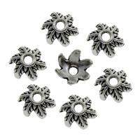 Zinklegierung Perlenkappe, Blume, antik silberfarben plattiert, frei von Blei & Kadmium, 7x7mm, Bohrung:ca. 1mm, 500PCs/Tasche, verkauft von Tasche