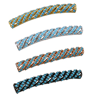 Messing Rohr Perlen, gebogenes Rohr, plattiert, Micro pave Zirkonia, keine, 35x5x4mm, Bohrung:ca. 2mm, 5PCs/Menge, verkauft von Menge