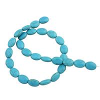 Türkis Perlen, oval, 10x14x6mm, Bohrung:ca. 1mm, Länge:ca. 14.5 ZollInch, ca. 26PCs/Tasche, verkauft von Tasche