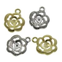 Zinklegierung Blume Anhänger, plattiert, keine, frei von Blei & Kadmium, 12.5x15.5x1.5mm, Bohrung:ca. 1.5mm, 500PCs/Tasche, verkauft von Tasche