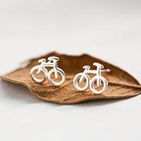 Messing Ohrstecker, Fahrrad, Platinfarbe platiniert, für Frau, 10x8mm, verkauft von Paar