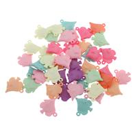 Acryl Anhänger, Fisch, gemischte Farben, 15x16x4mm, Bohrung:ca. 1mm, 500G/Tasche, verkauft von Tasche