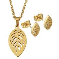 Edelstahl Schmucksets, Ohrring & Halskette, Blatt, goldfarben plattiert, Oval-Kette & für Frau & hohl, 12x23mm, 2mm, 6x10mm, Länge:ca. 20 ZollInch, verkauft von setzen