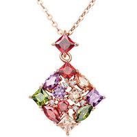 Messing Halskette, mit Verlängerungskettchen von 1.9inch, Rhombus, echtes Rósegold plattiert, Oval-Kette & Micro pave Zirkonia & für Frau, frei von Nickel, Blei & Kadmium, verkauft per ca. 17.7 ZollInch Strang