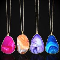Unisex Halskette, Zinklegierung, mit Streifen Achat, goldfarben plattiert, Oval-Kette, keine, frei von Blei & Kadmium, 35mm, verkauft per ca. 17.5 ZollInch Strang