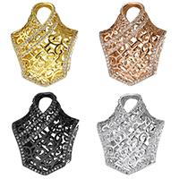 Messing Stiftöse Perlen, plattiert, Micro pave Zirkonia & hohl, keine, 25x31x13mm, Bohrung:ca. 6x8mm, 7x5mm, 5PCs/Menge, verkauft von Menge