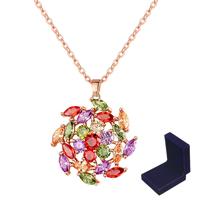 Messing Halskette, mit Verlängerungskettchen von 1.9inch, Blume, echtes Rósegold plattiert, Oval-Kette & Micro pave Zirkonia & für Frau, frei von Nickel, Blei & Kadmium, verkauft per ca. 17.7 ZollInch Strang